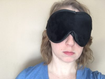 Escape Luxury Sleep Mask being worn