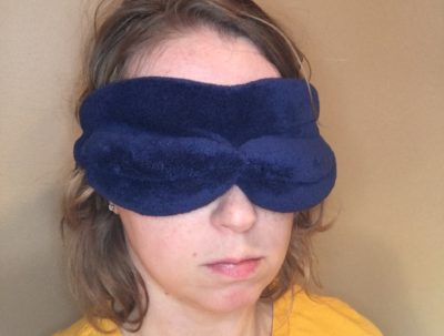 Brookstone NapForm Eye Mask worn