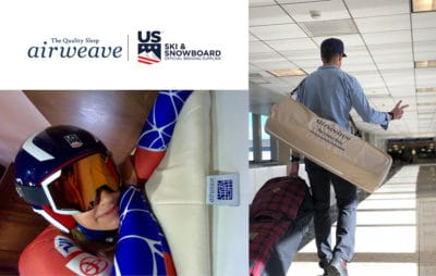 U.S. Olympians Alice McKennis and Alex Deibold with airweave sponsorship
