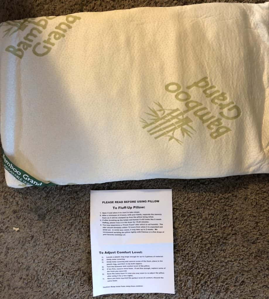 Bamboo Grand Memory Foam Pillow Instructions