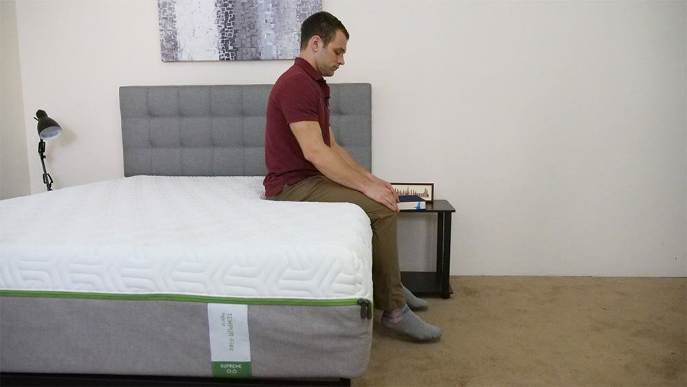 Sitting on the edge of the Tempurpedic Flex mattress