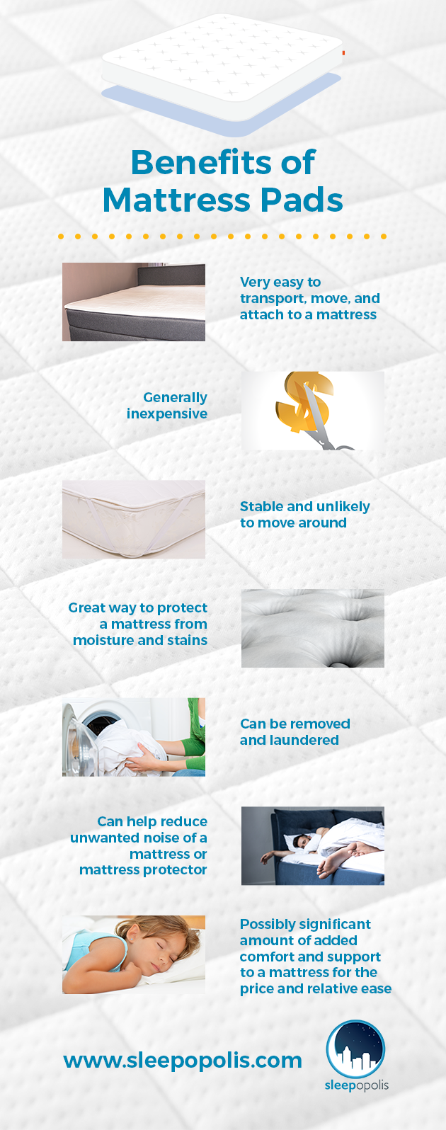 An infographic outlining the Benefits of Mattress Pads