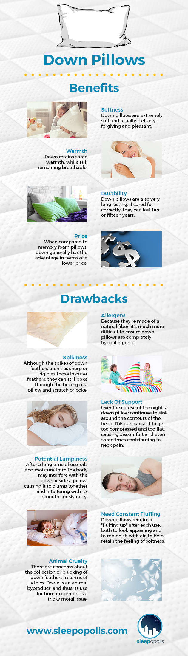 An infographic outlining the pros and cons of down and feather pillows