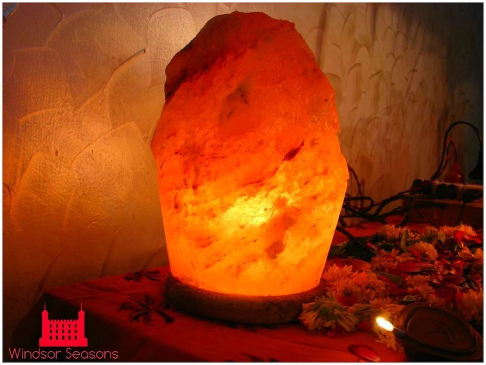 Windsor Seasons Hand Crafted Natural Crystal Himalayan Salt Lamp with Neem Wood Base