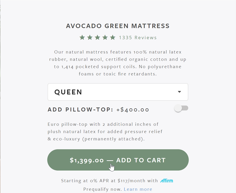 Avocado Green Mattress Add To Cart