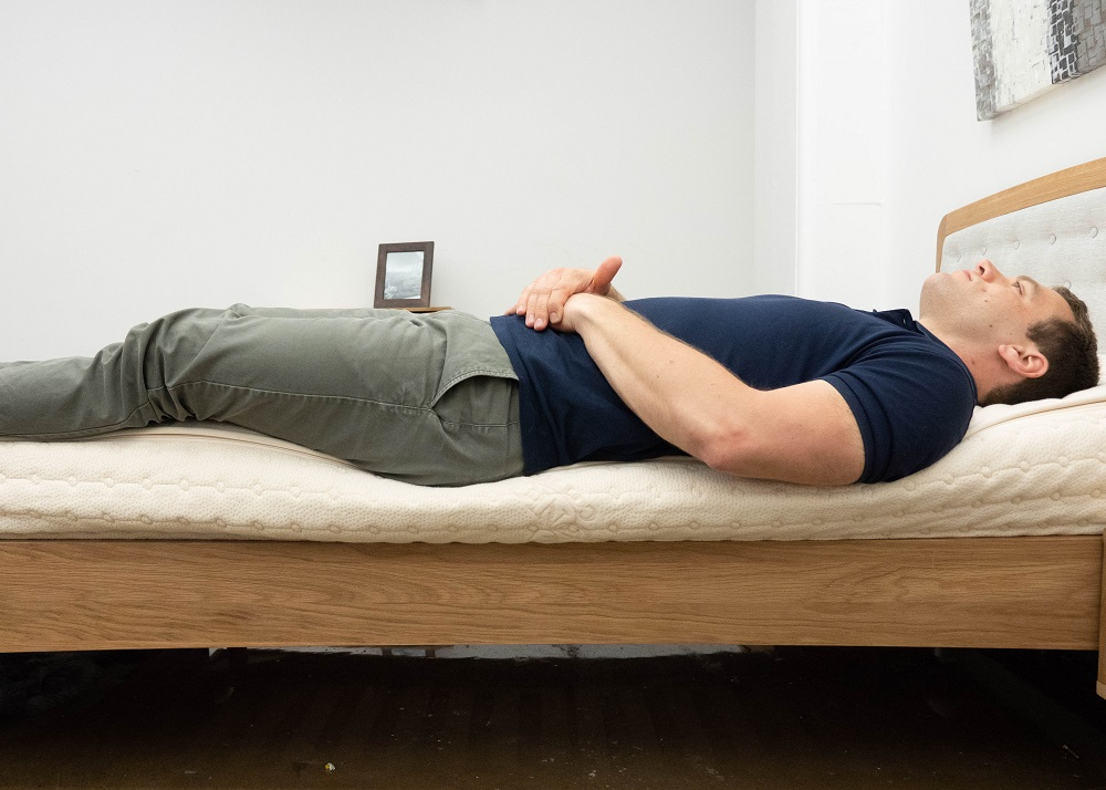 Back sleeping on the Plushbeds mattress