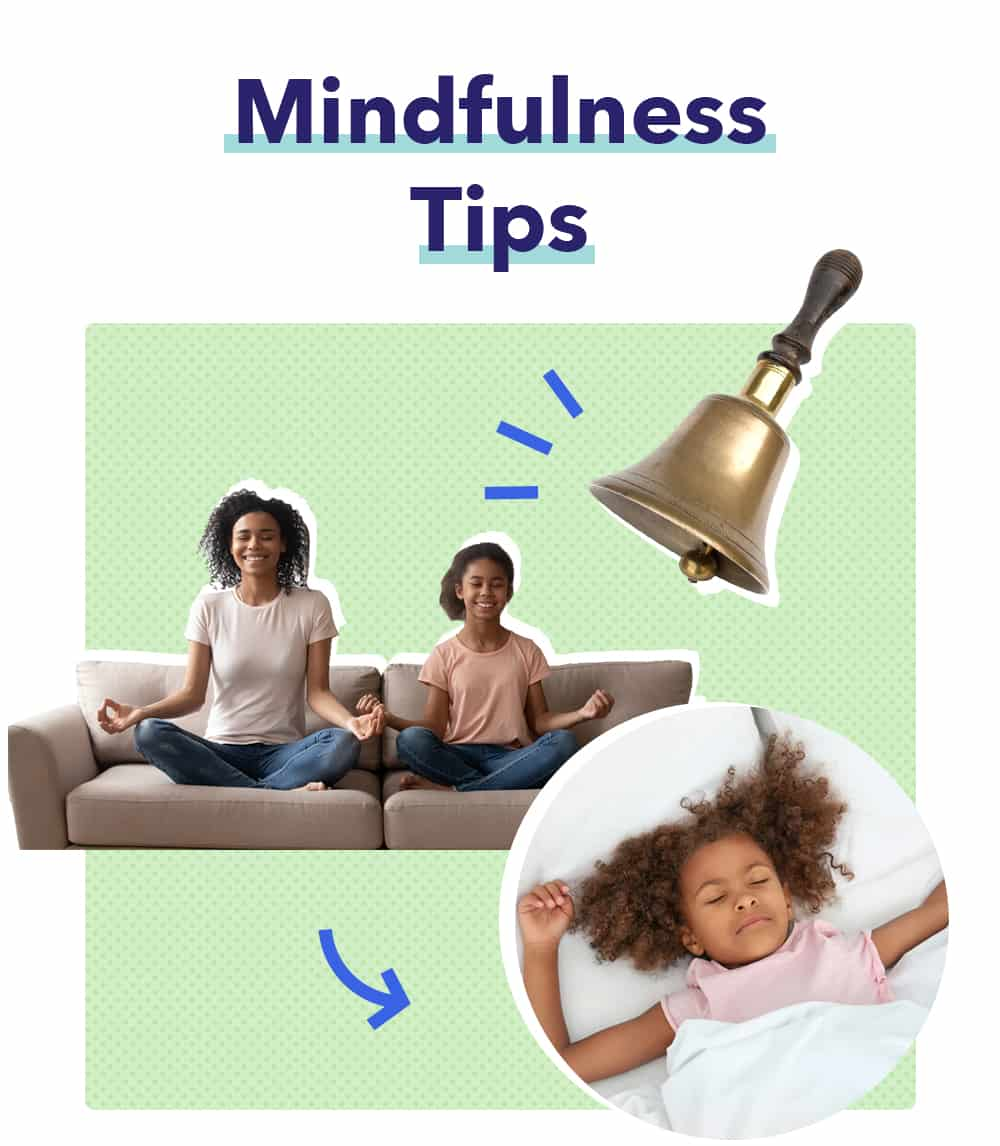Tips graphic, mindfulness for kids article