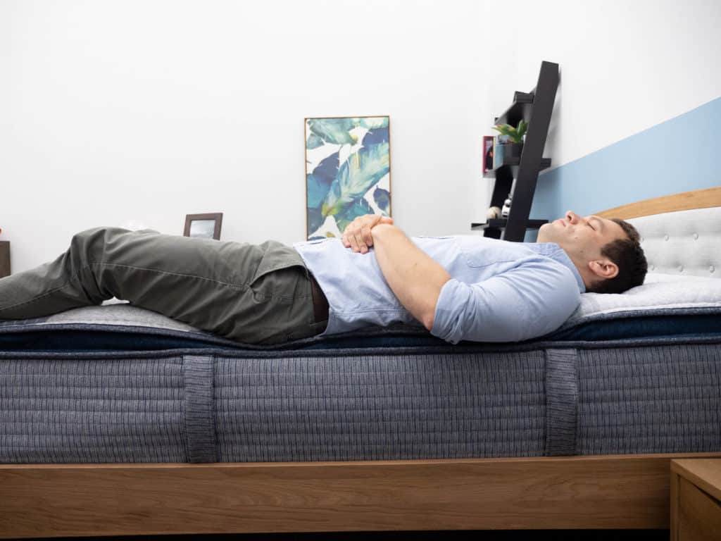 Back sleeping on the Serta iComfort Hybrid 300 mattress