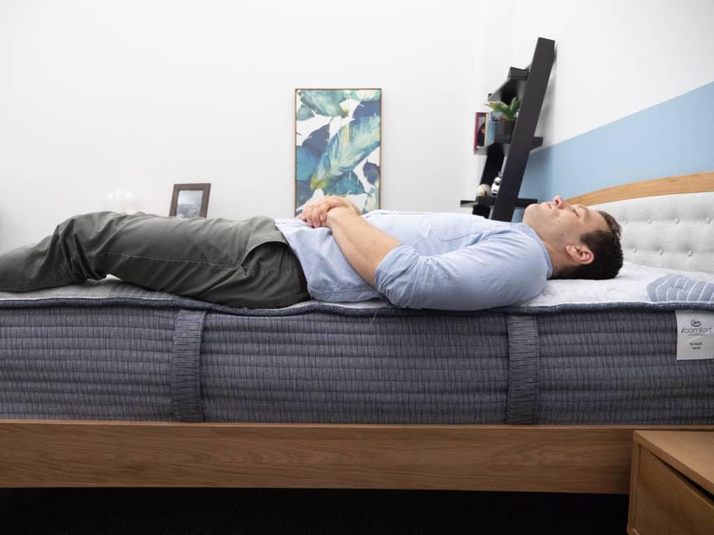 Back sleeping on the Serta iComfort Hybrid 500 mattress