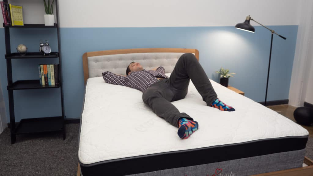 Back sleeping on the Amore Hybrid mattress