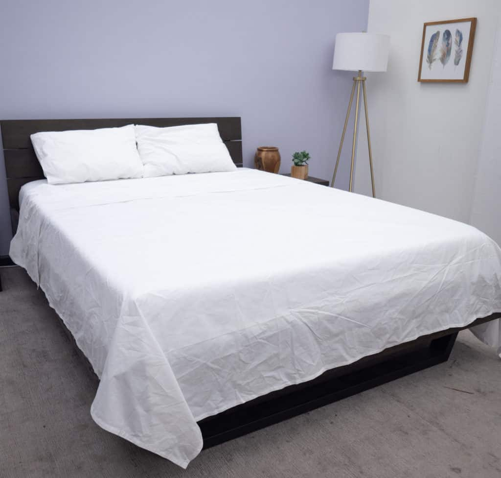 Bed made with Brooklinen sheets