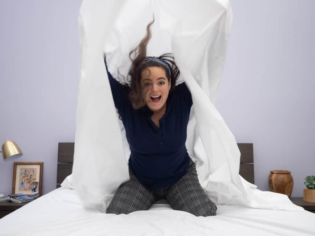 Snowe sheets having fun