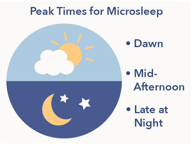 Sleep Education article, Microsleep, peak times graphic