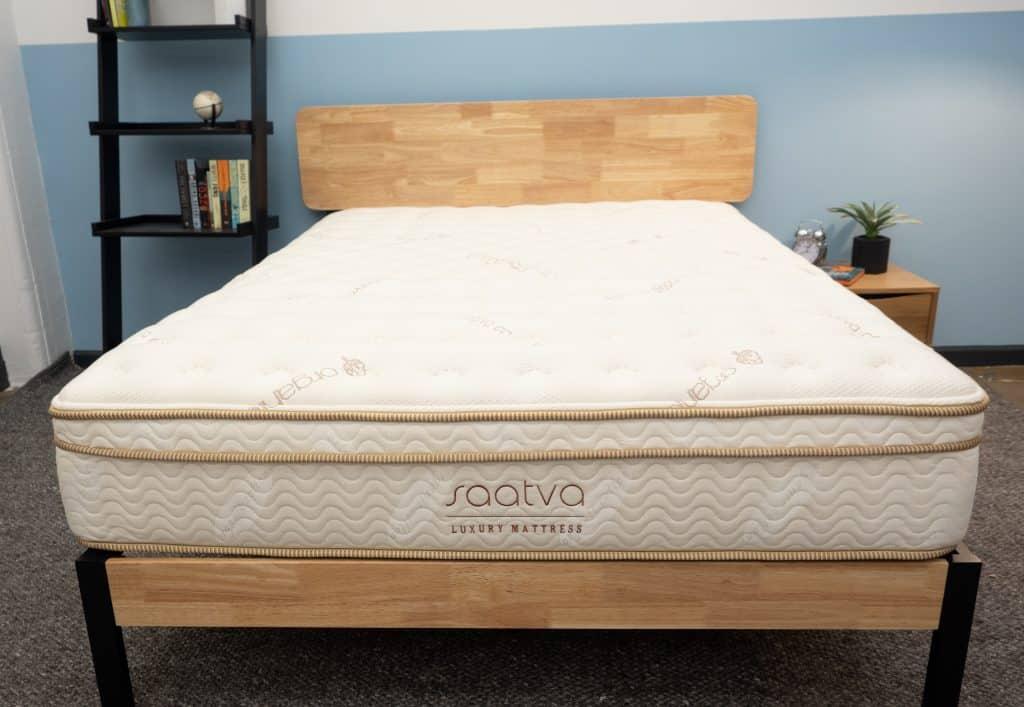 Saatva mattress on bed frame