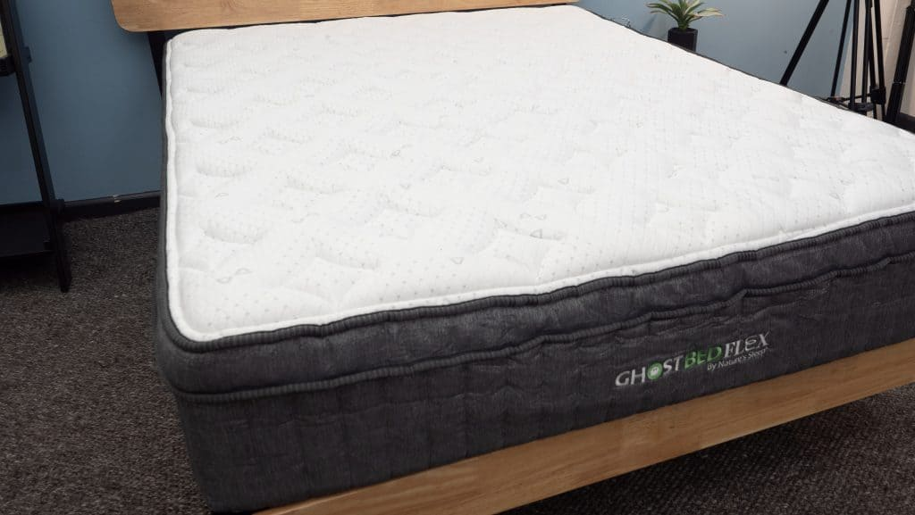 GhostBed Flex mattress on bed frame