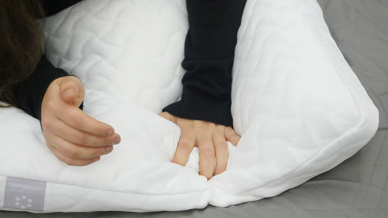 Pressing on the Tempur-Cloud pillow