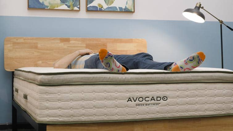 Back sleeping on Avocado mattress