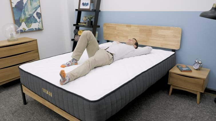 Back laying on the Brooklyn Bedding Titan mattress
