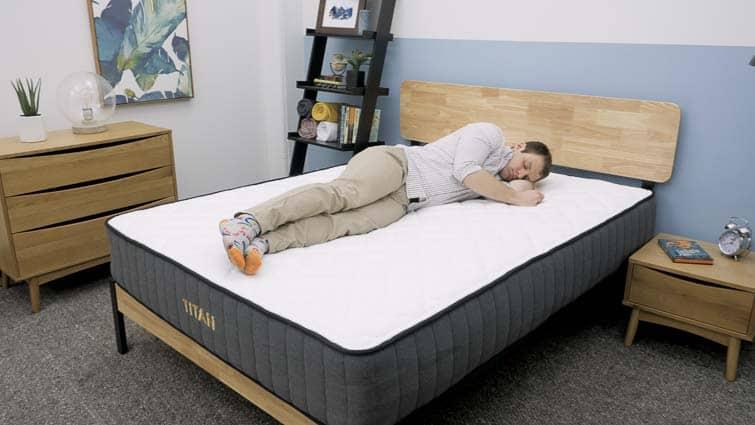 Relaxing on a Brooklyn Bedding Titan mattress