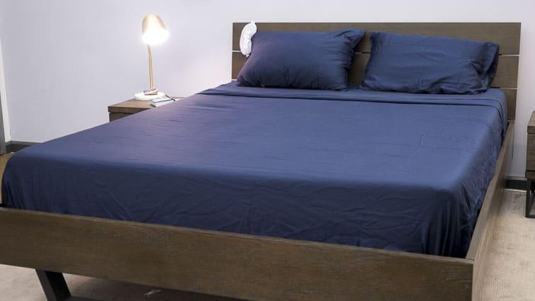 Ettitude Bamboo sheet set on made bed