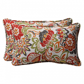 Pillow Perfect Decorative Multicolored Modern Floral Rectangular Pillow