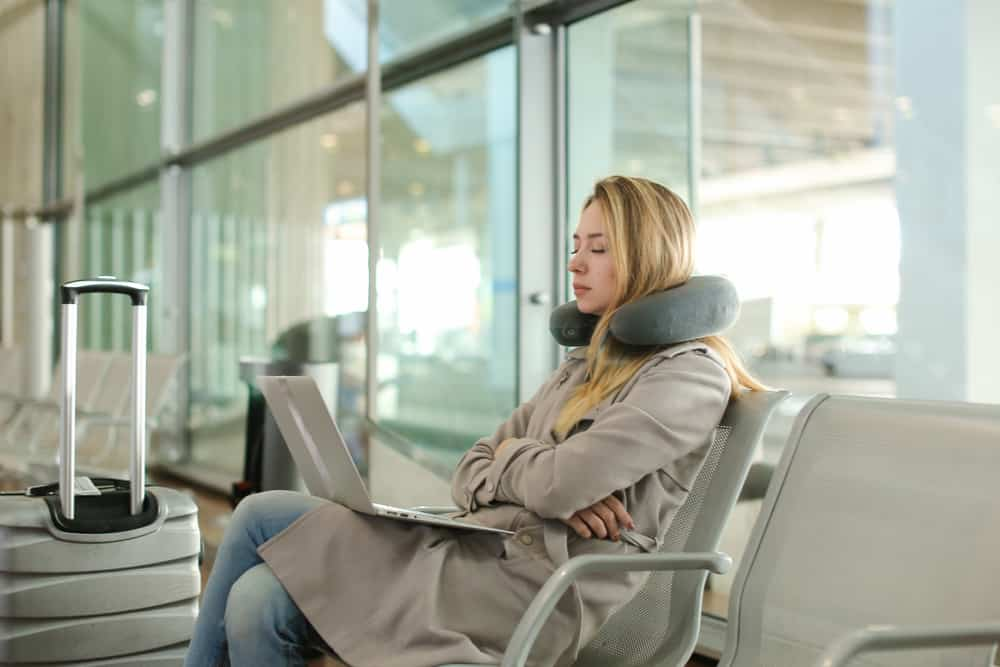 Using a Travel Pillow in Airport