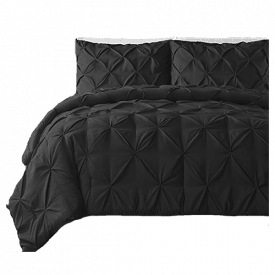 Double Needle 3-Piece Pinch Pleat Comforter Set