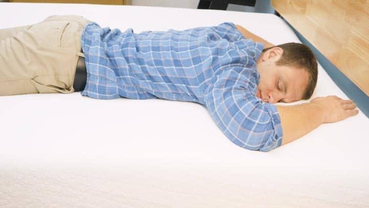 Stomach sleeping on the Zinus Memory Foam mattress