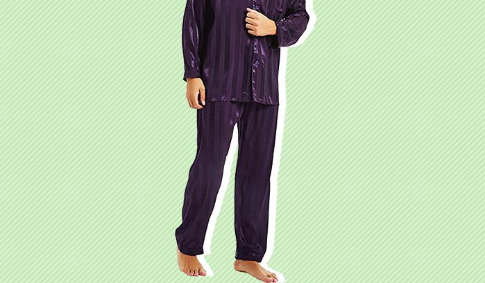 X-Future Men Pajama Long Sleeve Satin Buttons Soft Lightweight Pajama Sets