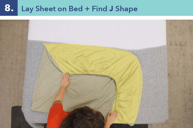 Lay the sheet on the bed, and you'll notice the elastic resembles a J shape.