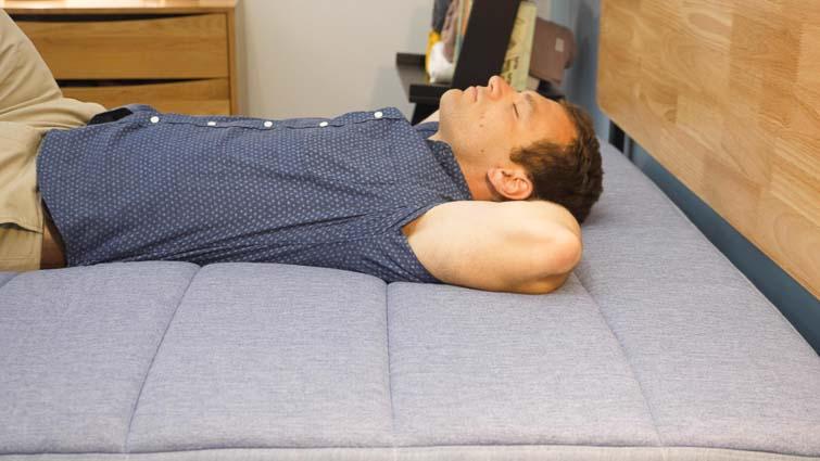 Backing sleeping on the Tuft & Needle Hybrid mattress