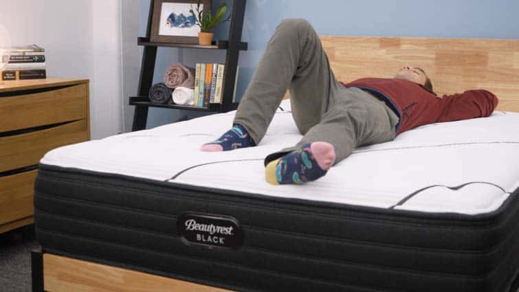 Back sleeping on the Simmons Beautyrest Black mattress