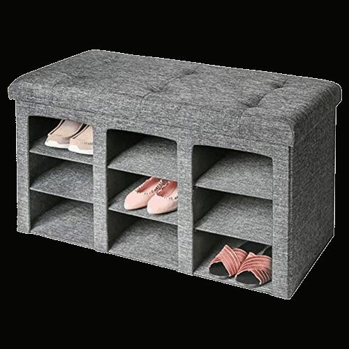 Seville Classics Tufted Shoe Storage Ottoman Bench