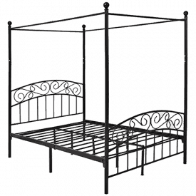 DUMEE Deluxe Design Metal Canopy Bed Frame