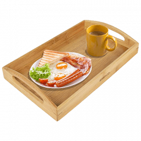 Greenco Rectangle Bamboo Butler Serving Tray