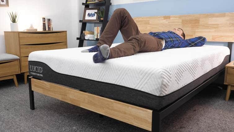 Back sleeping on the Lucid Hybrid mattress