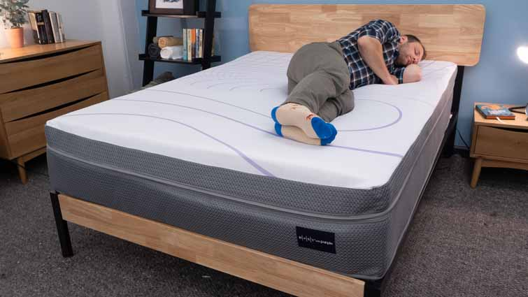Rest Bed Purple Grid Side