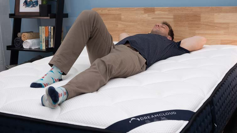 Back sleeping on the DreamCloud