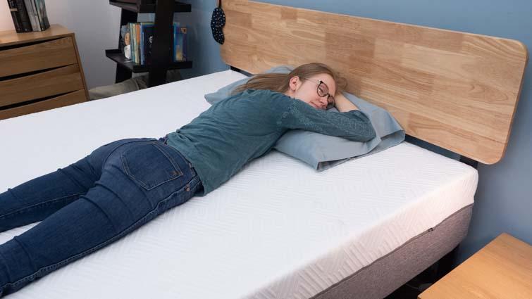 Stomach sleeping on the Novilla Bliss