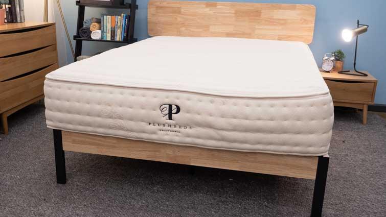 The PlushBeds Botanical Bliss mattress in the Sleepopolis studio