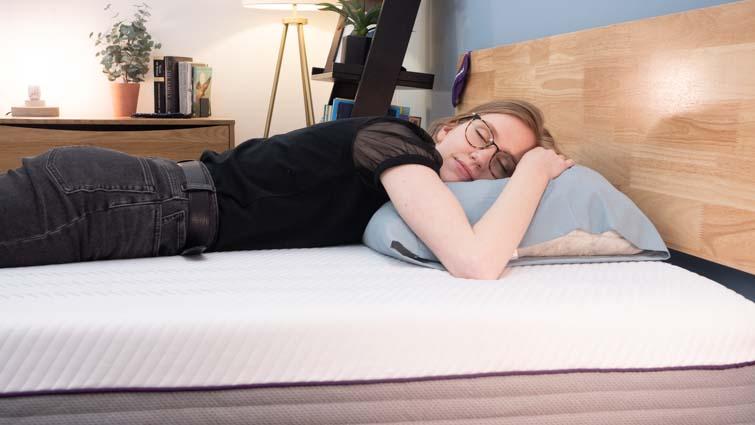 stomach sleeping on the Purple Hybrid Premier 3