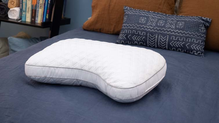 The Bear Contour pillow on a bed