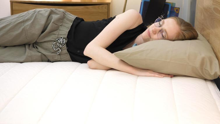 side sleeping on GhostBed Natural mattress